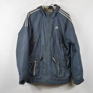 Adidas Mens Medium Full Zip Parka Jacket Blue